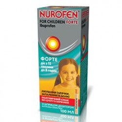 Нурофен для детей форте сусп. орал. 200 мг/5 мл фл. 100 мл, клубника